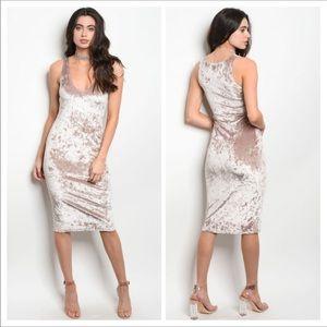 Dresses & Skirts - Mocha Stretch Velvet Dress. NWT